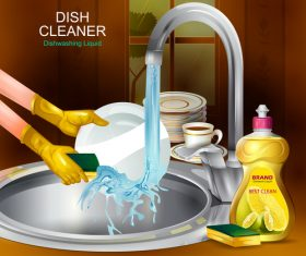 Dish cleaner advertisement poster template vectors 01