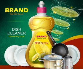 Dish cleaner advertisement poster template vectors 03