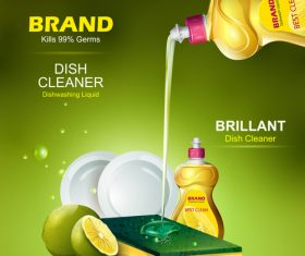 Dish cleaner advertisement poster template vectors 06