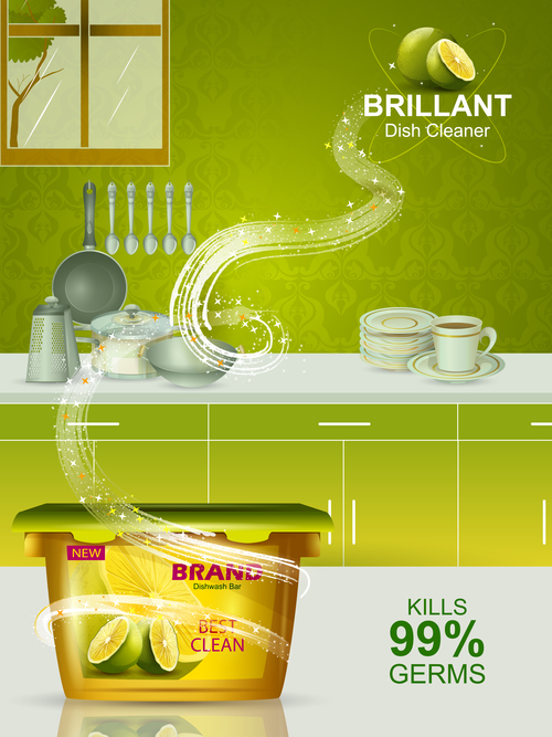 Dish cleaner advertisement poster template vectors 07