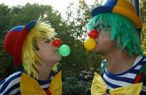 Dressed as a clown Stock Photo 05