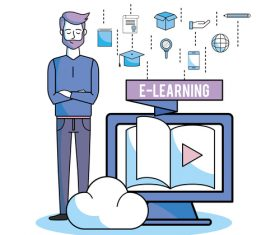 E-elearning training online business template vector 03