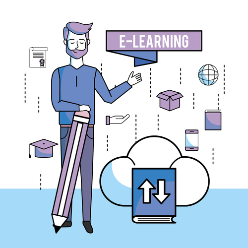 E elearning training online business template vector 05