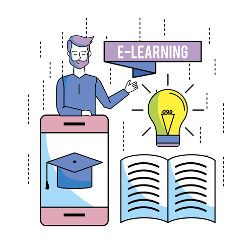 E elearning training online business template vector 09