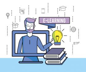 E-elearning training online business template vector 10