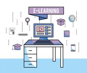 E-elearning training online business template vector 13