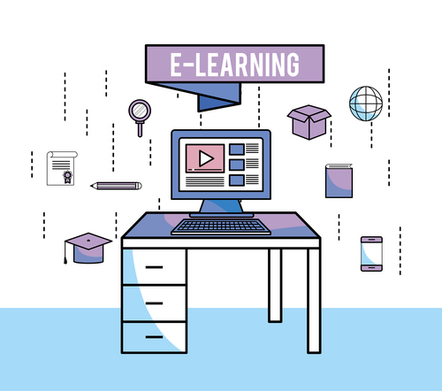 E elearning training online business template vector 13