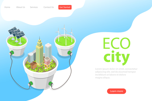 Eco city business template vector