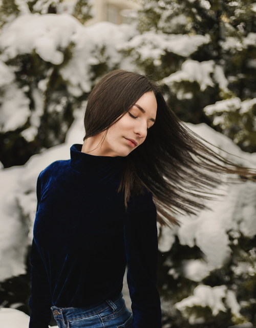 Elegant woman in winter outdoor Stock Photo