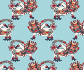 Ethnic pattern with Monkey seamless vector 01