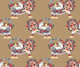Ethnic pattern with Monkey seamless vector 02