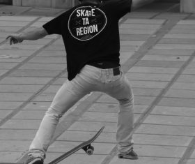 Extremely difficult skateboard action Stock Photo 01