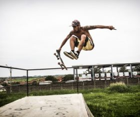 Extremely difficult skateboard action Stock Photo 03