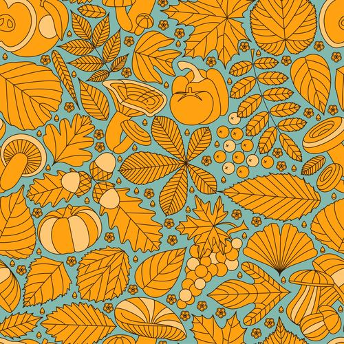 Fall line seamless Thanksgiving Day design vector