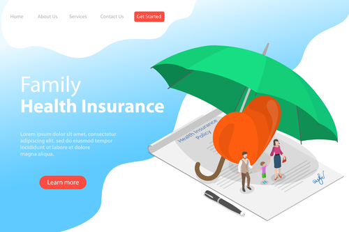 Family health insurance business template vector