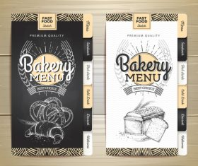 Fast food bakery menu vector template vector 01