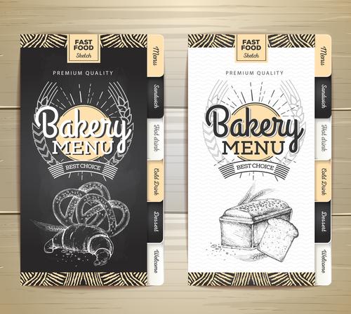 Fast food bakery menu vector template vector 01