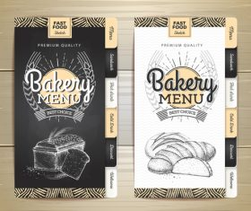 Fast food bakery menu vector template vector 02