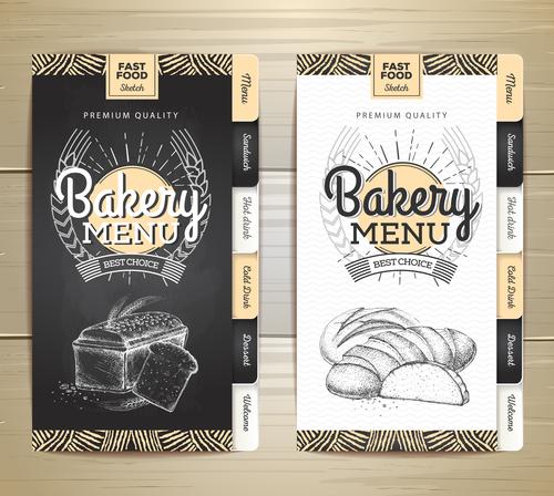 Fast food bakery menu vector template vector 02