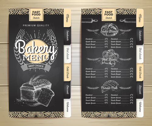 Fast food bakery menu vector template vector 03