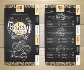 Fast food bakery menu vector template vector 04