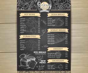 Fast food bakery menu vector template vector 05