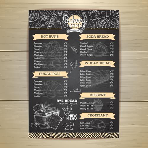 Fast food bakery menu vector template vector 05