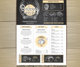 Fast food bakery menu vector template vector 06
