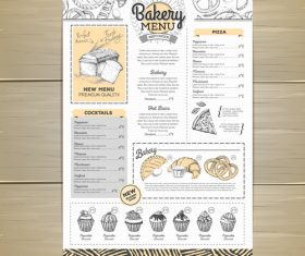 Fast food bakery menu vector template vector 07