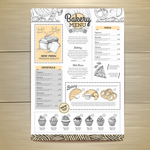 Fast food bakery menu vector template vector 07