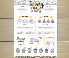 Fast food bakery menu vector template vector 08