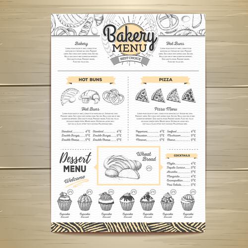Fast food bakery menu vector template vector 08