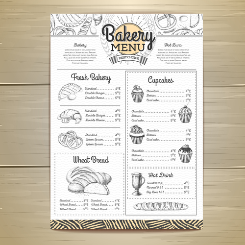 Fast food bakery menu vector template vector 09
