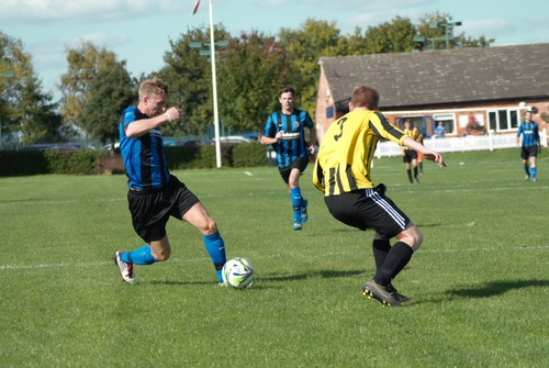 Fast paced soccer game Stock Photo 01