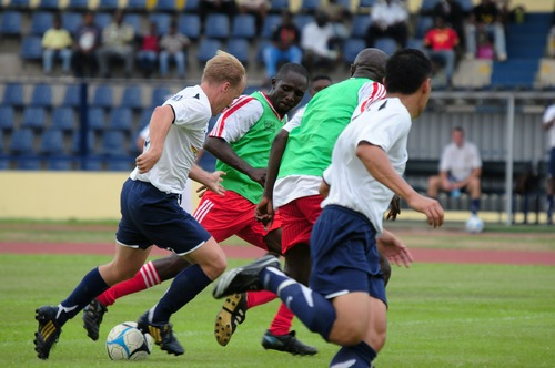 Fast paced soccer game Stock Photo 02
