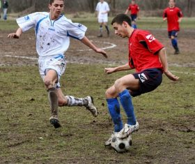 Fast-paced soccer game Stock Photo 03