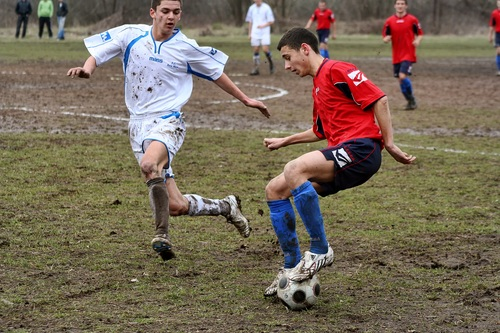Fast paced soccer game Stock Photo 03