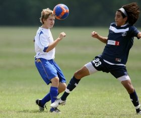 Fast-paced soccer game Stock Photo 06