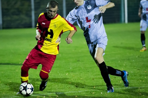 Fast paced soccer game Stock Photo 07