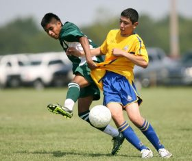 Fast-paced soccer game Stock Photo 08