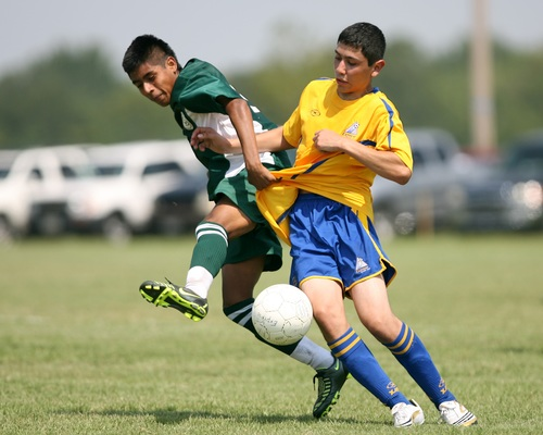 Fast paced soccer game Stock Photo 08