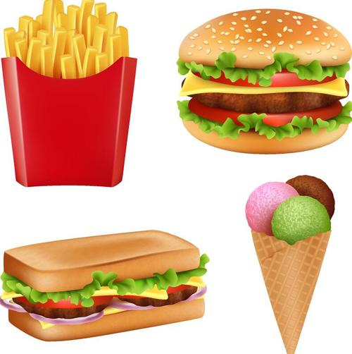 Fastfood with ice cream illustration vectors