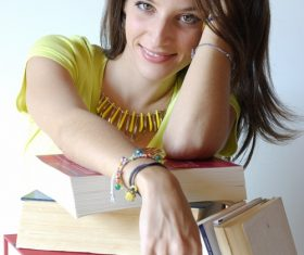 Female student and book Stock Photo