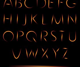 Fire alphabet font vector 01