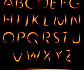Fire alphabet font vector 02