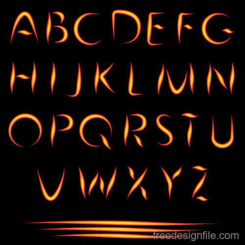 Fire alphabet font vector 02