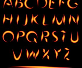 Fire alphabet font vector 03