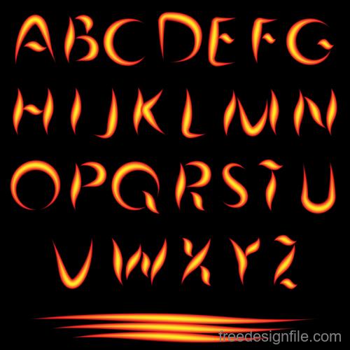 Fire alphabet font vector 03