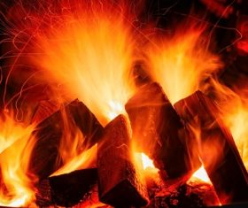 Flame bonfire Stock Photo