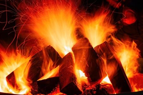 Flame bonfire Stock Photo